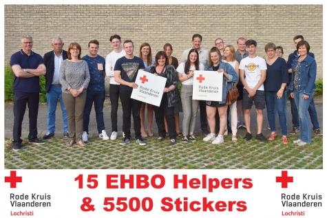 Rode Kruis Lochristi recordverkoop stickers 15 nieuwe EHBO-helpers