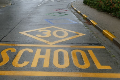 wegmarkering school Koning Boudewijnlaan Lochristi